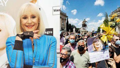 Raffaella Carrà fue una estrella en Italia, España y Argentina, además de América Latina. Ayer, sus fans y mucho público siguieron la misa de despedida desde la calle.