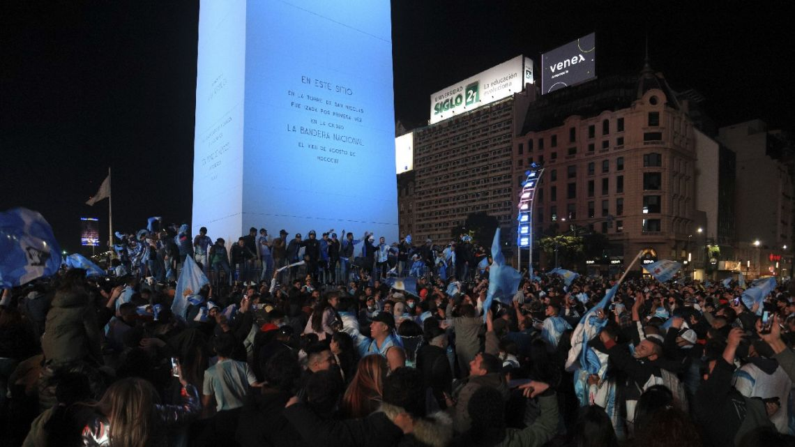 Celebrations continued long into the night at the Obelisk in Buenos Aires.