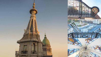 Cúpula. La restauración incluyó la azotea y la torre cúpula, que comprendió la puesta en marcha e iluminación de las aspas, los leones alados y de los ocho paños vitrales retroiluminados.