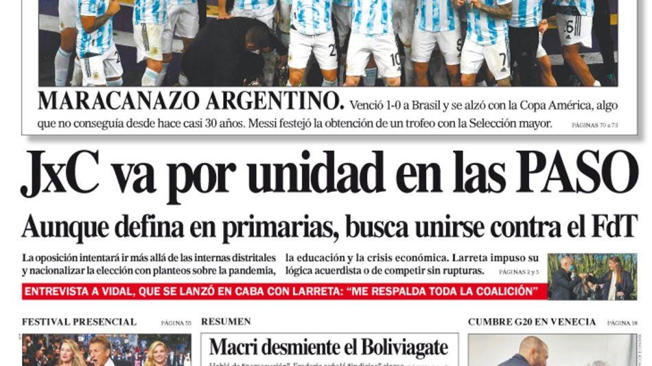 La tapa del Diario PERFIL del domingo 11 de julio de 2021.