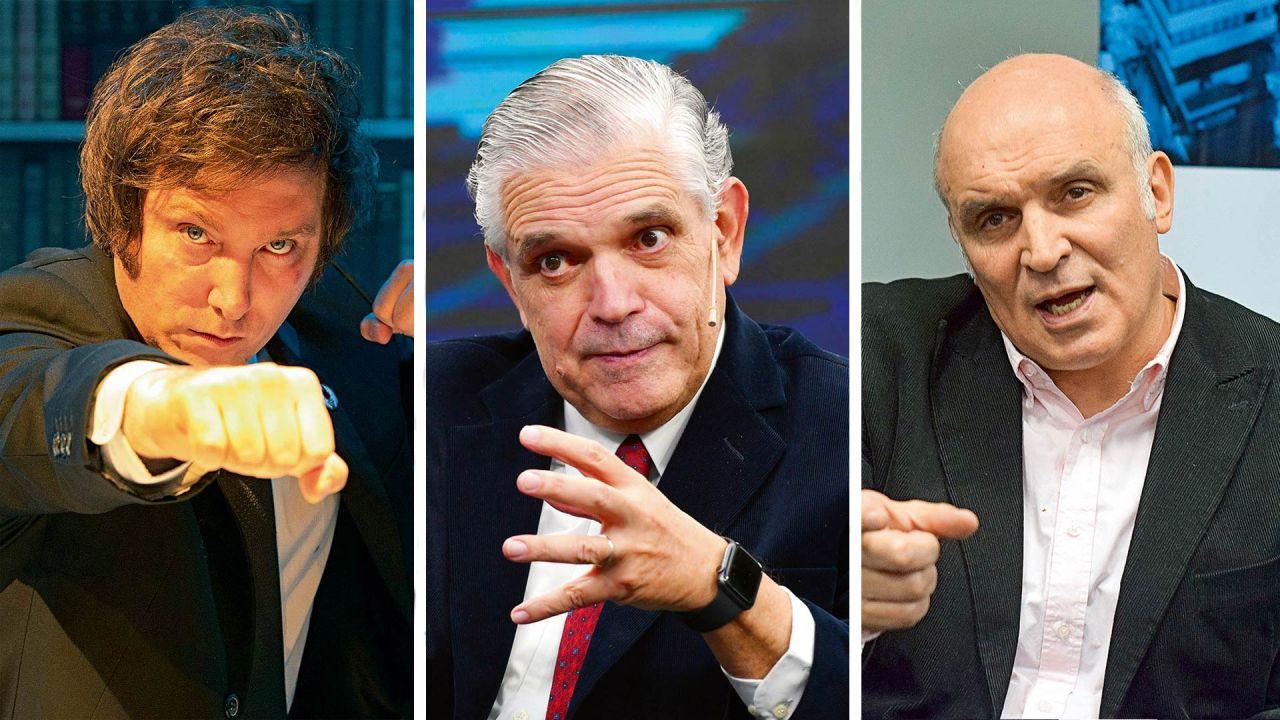 Javier Milei, Ricardo López Murphy y José Luis Espert. | Foto:Cedoc.