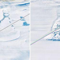 Los lagos se encuentran en el fondo de la capa de hielo, donde el hielo se encuentra con el continente rocoso de la Antártida