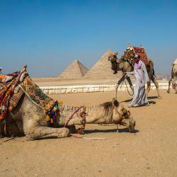 Entrenadores de camellos esperan a los turistas en un promontorio con vistas a las pirámides de Giza. | Foto:Khaled Desouki / AFP
