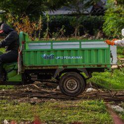 Trabajadores del cementerio mueven el ataúd de una víctima del coronavirus Covid-19 con un vehículo en el cementerio Keputih en Surabaya de Java Oriental. | Foto:Juni Kriswanto / AFP