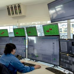 Control room at MSU Energy SA General Rojo natural gas plant in General Rojo, Buenos Aires Province, Argentina.