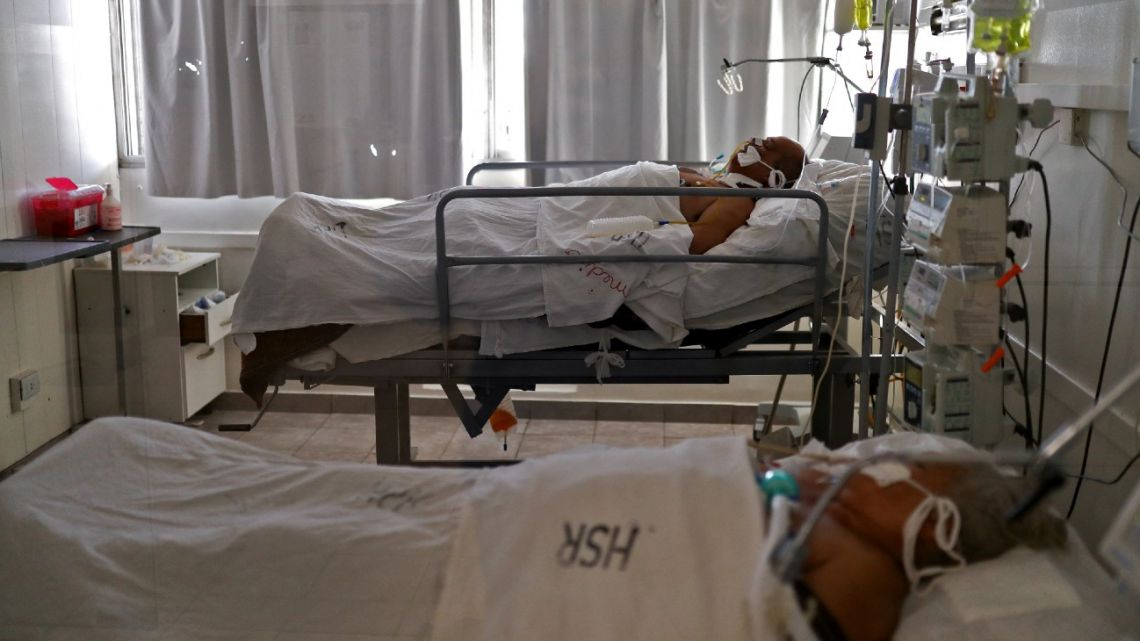 Patients suffering from Covid-19 remain in the ICU of the San Roque Hospital in Córdoba, Argentina, on July 06, 2021.