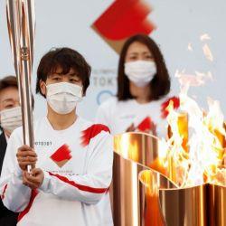 La antorcha olímpica en Tokio.  | Foto:AFP