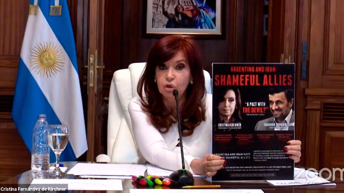 Vice-President and Senate president Cristina Fernández de Kirchner addresses the court during a hearing on the Iran-Memorandum of Understanding case on July 16, 2021.