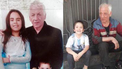 Miguel Ángel y sus nietos: Majo, Martín y Pedro