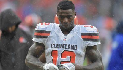 Josh Gordon, jugador de la NFL, con la camiseta de Cleveland Brown.