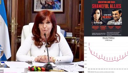 Las filminas de Cristina. Presentó una solicitada en la que se la acusaba de un pacto con el diablo y un cuadro de la deuda.