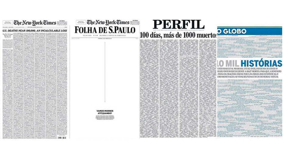 Homenajes. Diarios de referencia de diferentes partes del mundo hicieron portadas alusivas a las muertes por covid en sus países.