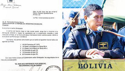 """Carta. El Comandante de la Fuerza Aérea agradeió el envío de """"material bélico""""."""