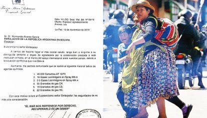Agradecimiento. La carta ingresó a través de la misión naval en lugar de la embajada, entonces bajo vigilancia.