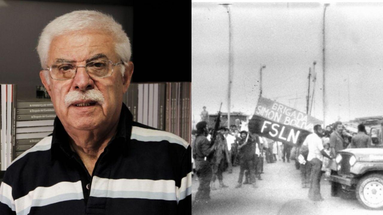 Miguel Sorans, en la actualidad y durante la guerra, parado al lado del jeep.   Foto:Cedoc