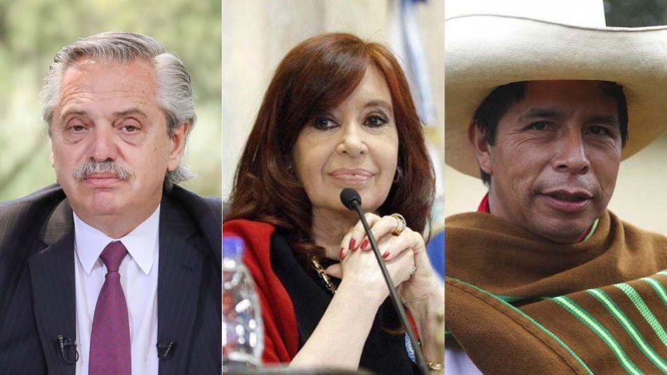 Alberto Fernández, Cristina Kirchner y Pedro Castillo 20210720