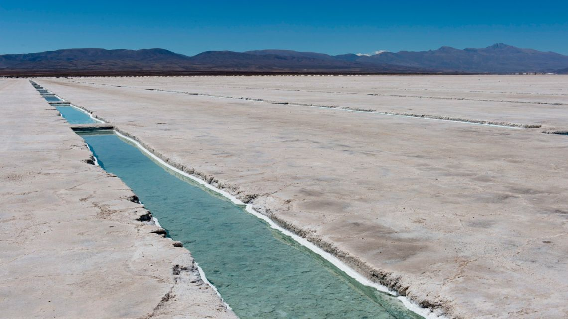 The Salinas Grandes salt pan in the Andes Mountains.