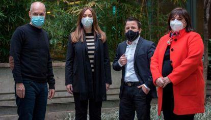 Rodríguez Larreta, junto a sus candidatos Vidal, Tetaz y Oliveto.