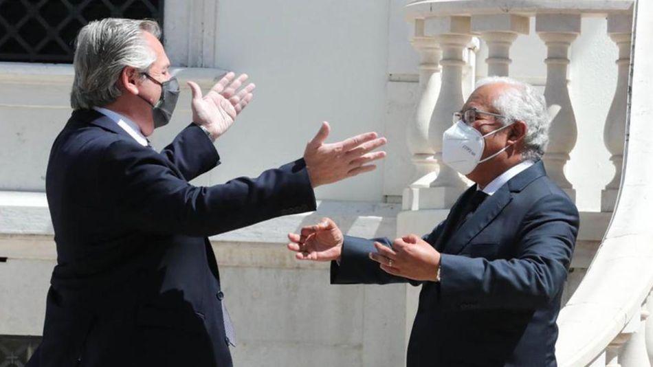 Alberto Fernández con el primer ministro portugués, 20210721