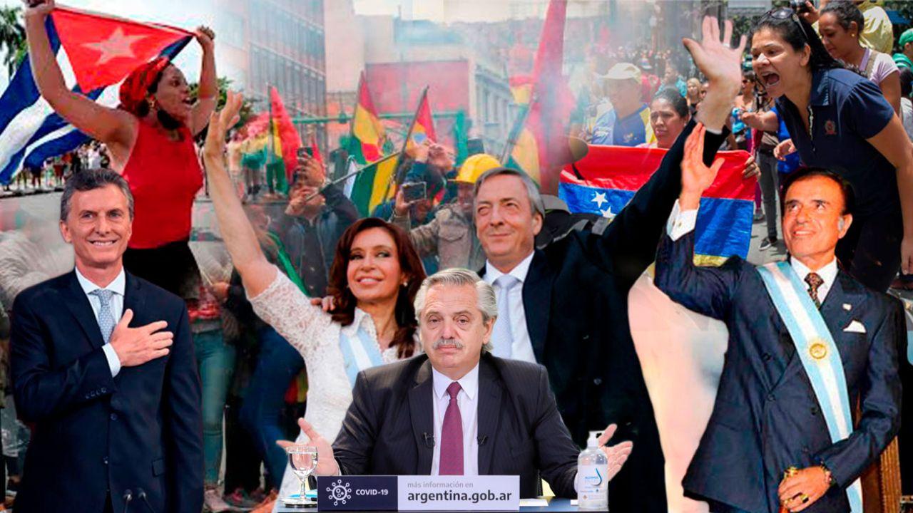 Mauricio Macri - Cristina y Néstor Kirchner - Alberto Fernández - Carlos Menem   Foto:cedoc