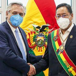 Alberto Fernández y el presidente de Bolivia, Luis Arce Catacora   Foto:cedoc