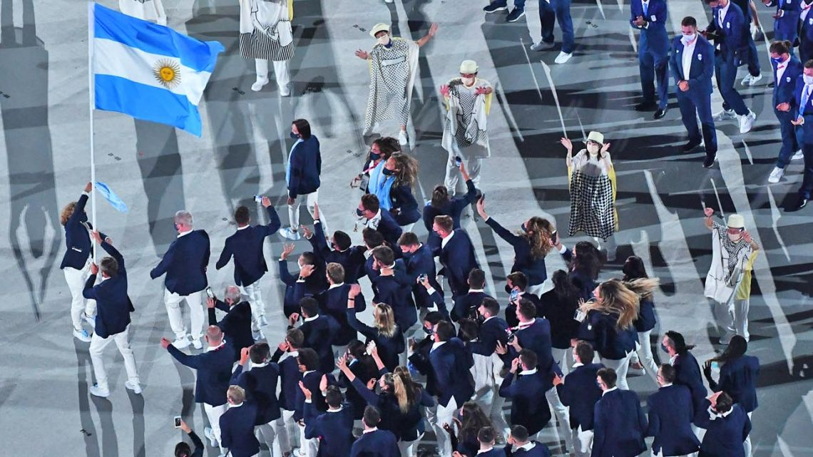 Argentina's athletes fly the flag at the Olympics in Tokyo.