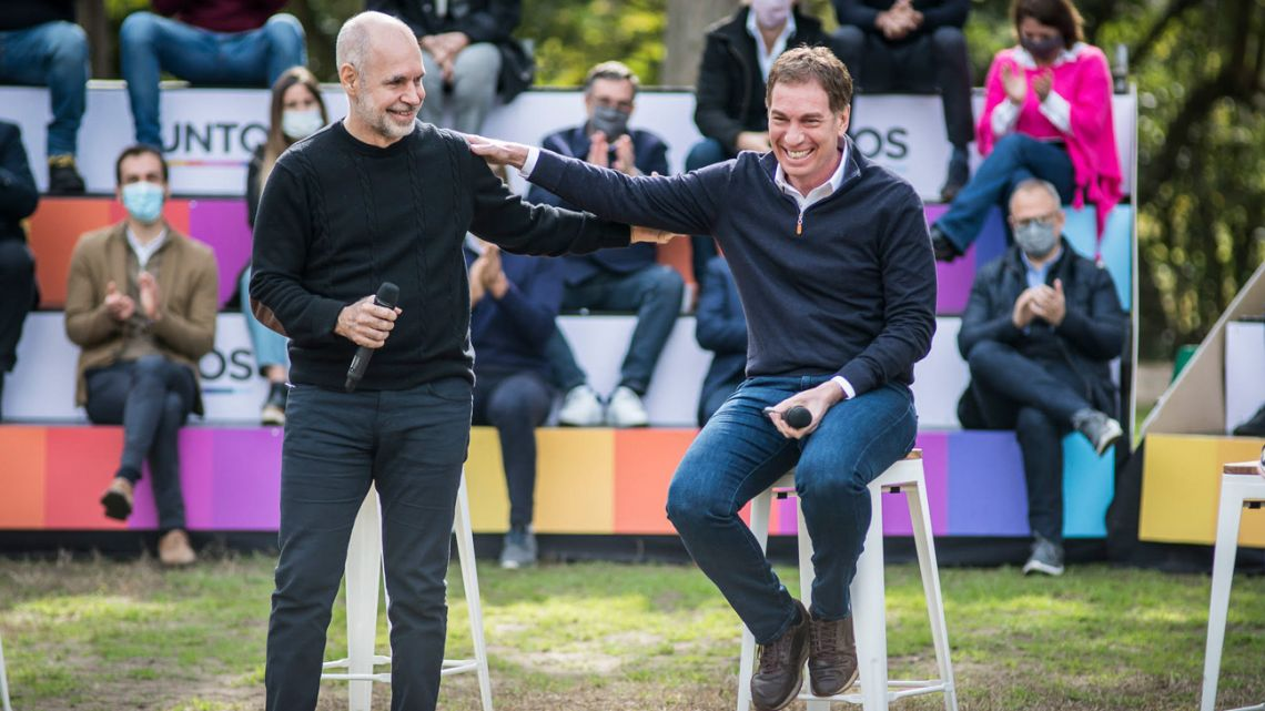 Buenos Aires City Mayor Horacio Rodríguez Larreta shares a laugh with Deputy Mayor Diego Santilli, during the latter's official launch of his candidacy for deputy in Buenos Aires Province.