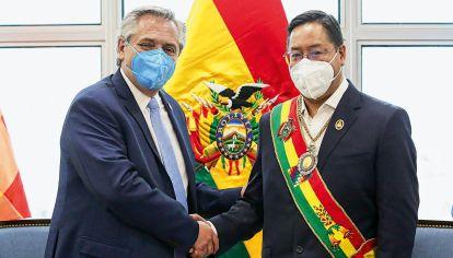 Alberto Fernández y el presidente de Bolivia, Luis Arce Catacora
