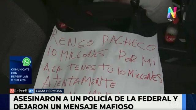 Asesinaron a un policía y dejaron un mensaje mafioso en el lugar