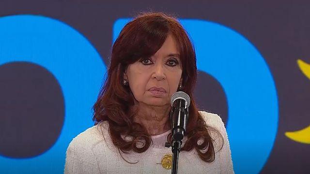La vicepresidenta Cristina Kirchner, en el acto de presentación de candidatos en Escobar.