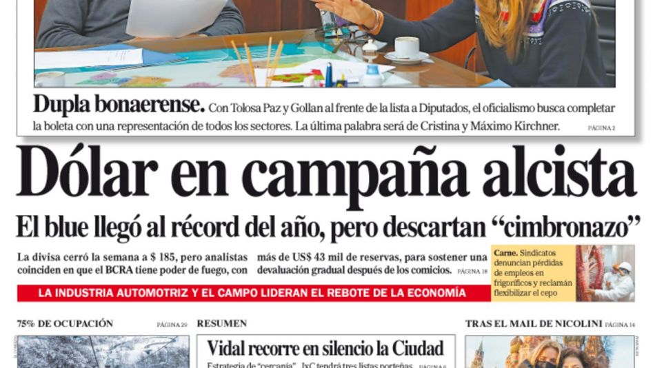 La tapa del Diario PERFIL de esté sábado 24 de julio de 2021.