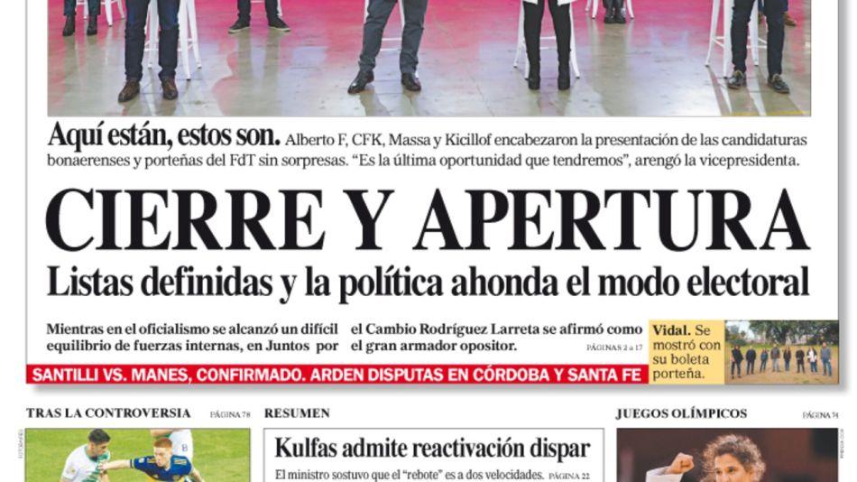 La tapa del Diario PERFIL del domingo 25 de julio de 2021