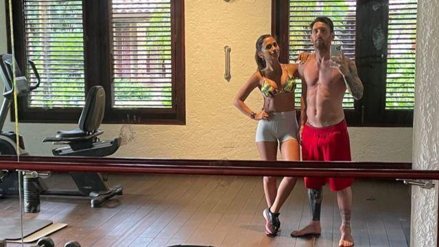 Antonella Roccuzzo y Lionel Messi en el gimnasio