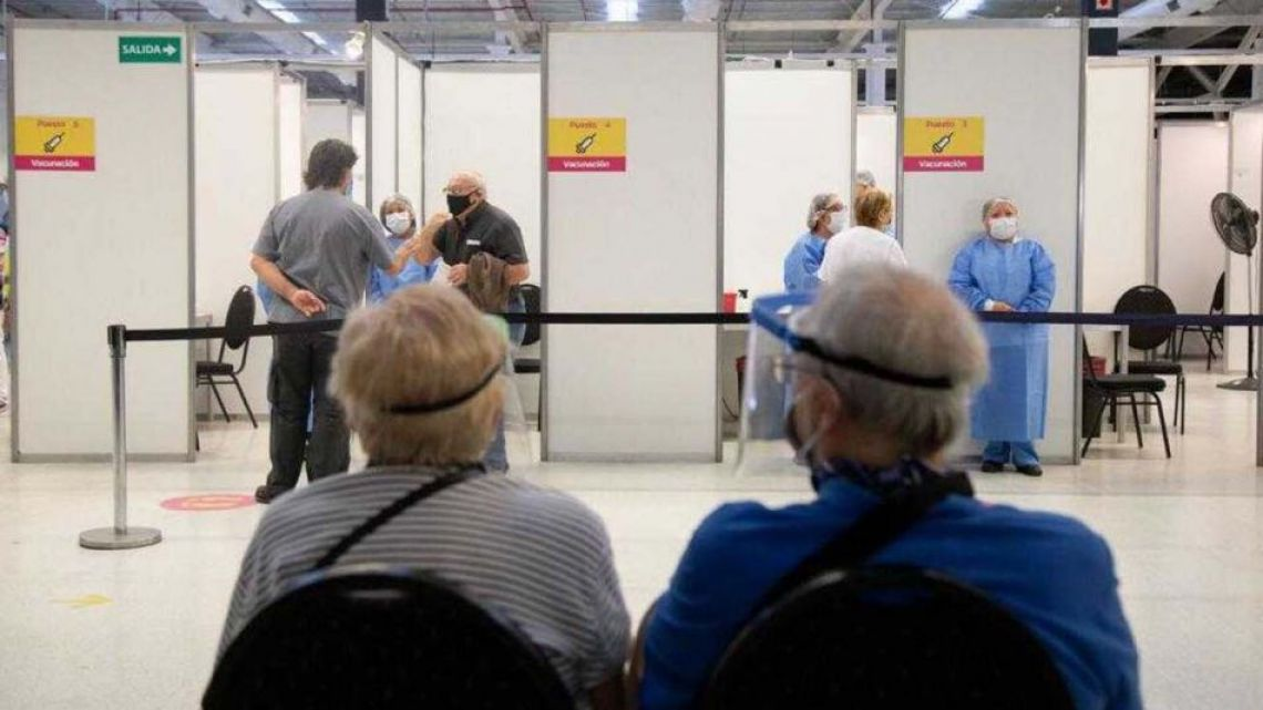 People wait to be vaccinated against Covid-19 in Buenos Aires.