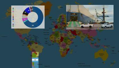 ¿Hacia qué países van los autos producidos en Argentina?
