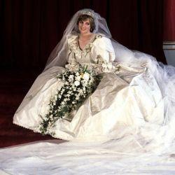 Ladi Di en su vestido de novia el 29 de julio de 1981