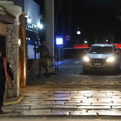 A car leaves the Olivos presidential residence, in this file photo.