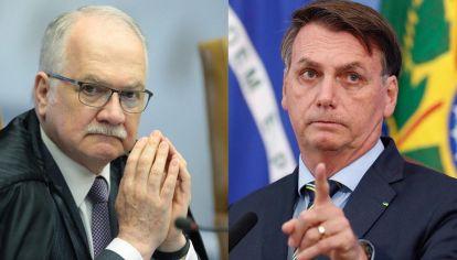 El juez juez Edson Fachin y el presidente Jair Bolsonaro