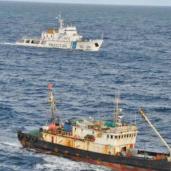 As foreign vessels don't have licenses to fish within Argentina's EEZ, they instead concentrate on the waters close to the outer limits.