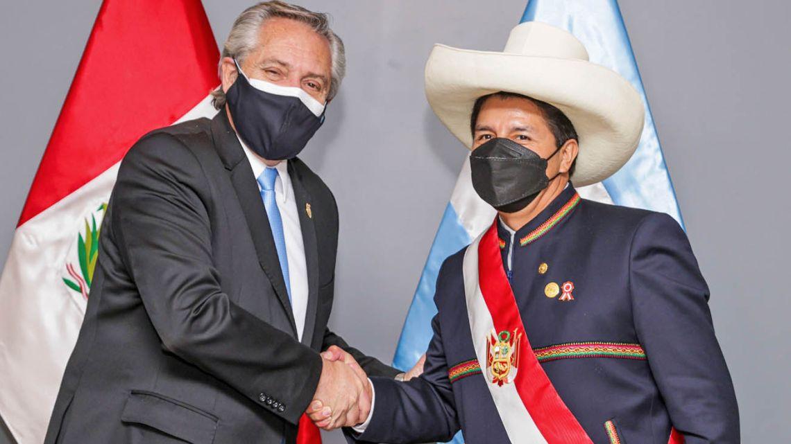 President Alberto Fernández meets with newly sworn-in Peru leader Pedro Castillo.