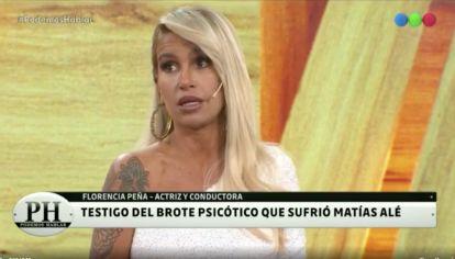 Flor Peña reveló que fue testigo de un brote psicótico de Matías Ale