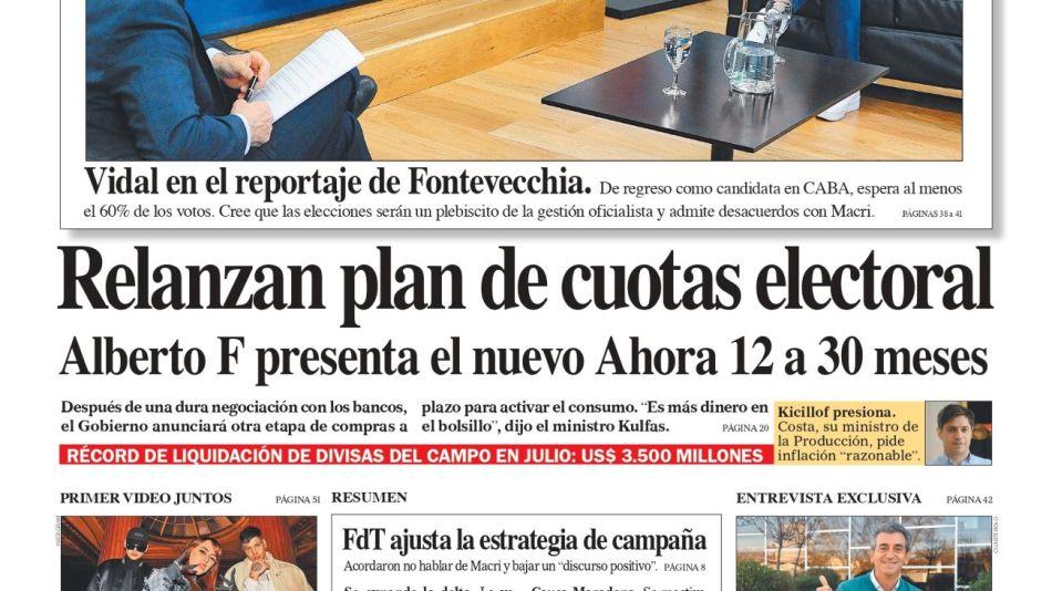 La tapa del Diario PERFIL del domingo 1 de agosto de 2021.
