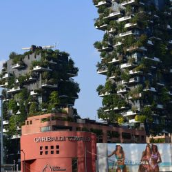 This photograph taken on June 2, 2021, shows the architectural complex called Vertical forest (Bosco Verticale) designed by Studio Boeri in the modern district of Porta Nuova in Milan.