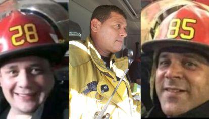 Cristian Ragazzoni, Héctor Gabriel Fedeli y Pablo Silva, los tres bomberos que murieron en la tragedia de Caseros.