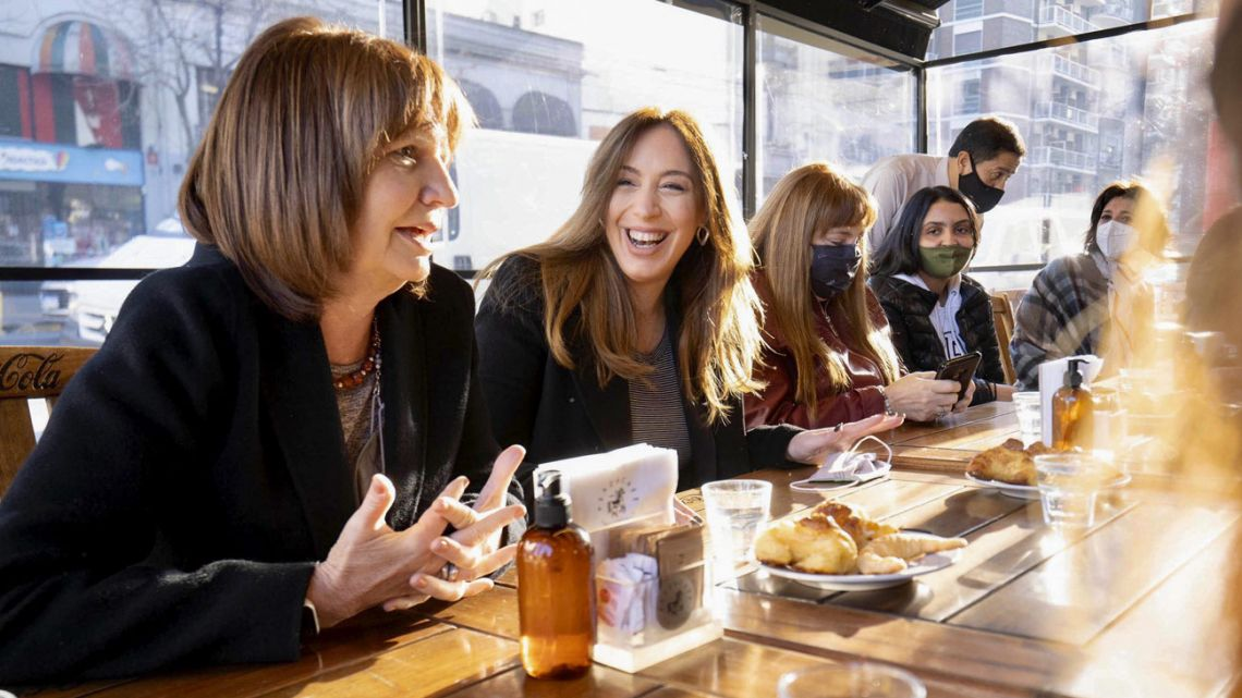 Opposition leader Patricia Bullrich (left) and candidate for deputy in Buenos Aires Province, María Eugenia Vidal (to her right) meet with voters ahead of the 2021 PASO primaries in Buenos Aires City.