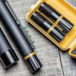 Tres chokes externos de la marca Briley vienen de fábrica y pueden intercambiarse sin usar herramientas.