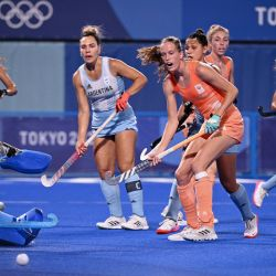 Argentina's goalkeeper María Belén Succi (left) looks as the ball goes out during the women's gold medal match of the Tokyo 2020 Olympic Games field hockey competition against Netherlands, at the Oi Hockey Stadium in Tokyo, on August 6, 2021.