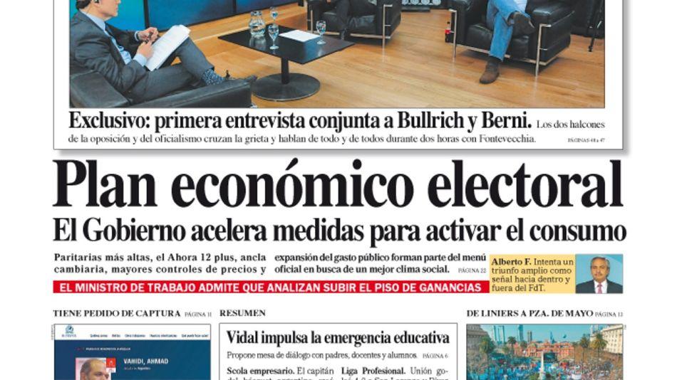 La tapa del Diario PERFIL de este domingo 8 de agosto de 2021.