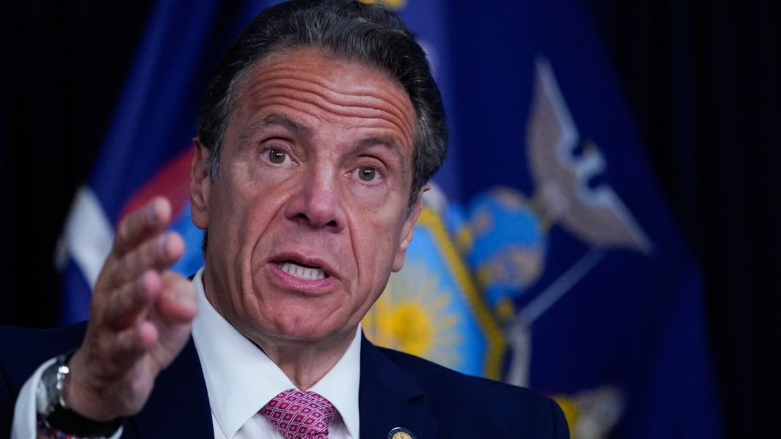 """In this file photo New York Governor Andrew Cuomo speaks during a news conference, on May 10, 2021 in New York. Embattled New York Governor Andrew Cuomo announced his resignation on August 10, 2021 after 11 women accused him of sexual harassment. """"I think that given the circumstances, the best way I can help now is if I step aside and let government get back to government,"""" Cuomo said in a live address.""""My resignation will be effective in 14 days."""""""