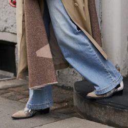 Jeans wide leg con botas
